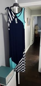 Spring maxi dress; Navy stripes with turquoise